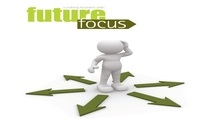 Futurefocus logo a person standing on arrows going in all directions looking confused
